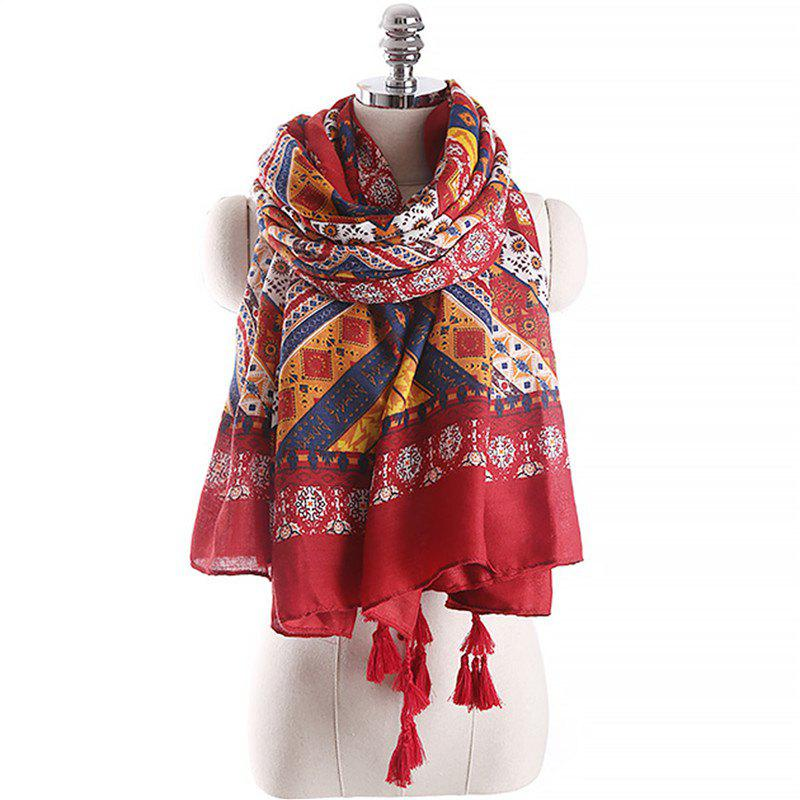 Shops Spring and Autumn Fashion Ethnic Style Printed Pattern Warm Scarf