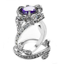 Creative Rose and Diamond Crystal Engagement Ring -