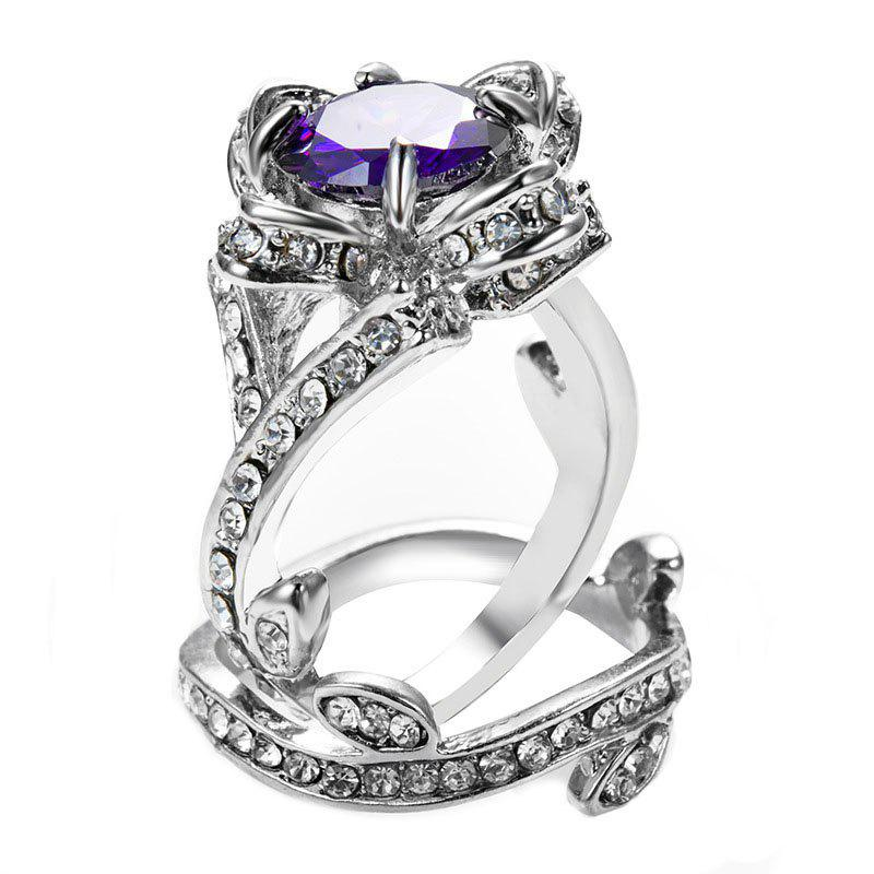 Online Creative Rose and Diamond Crystal Engagement Ring
