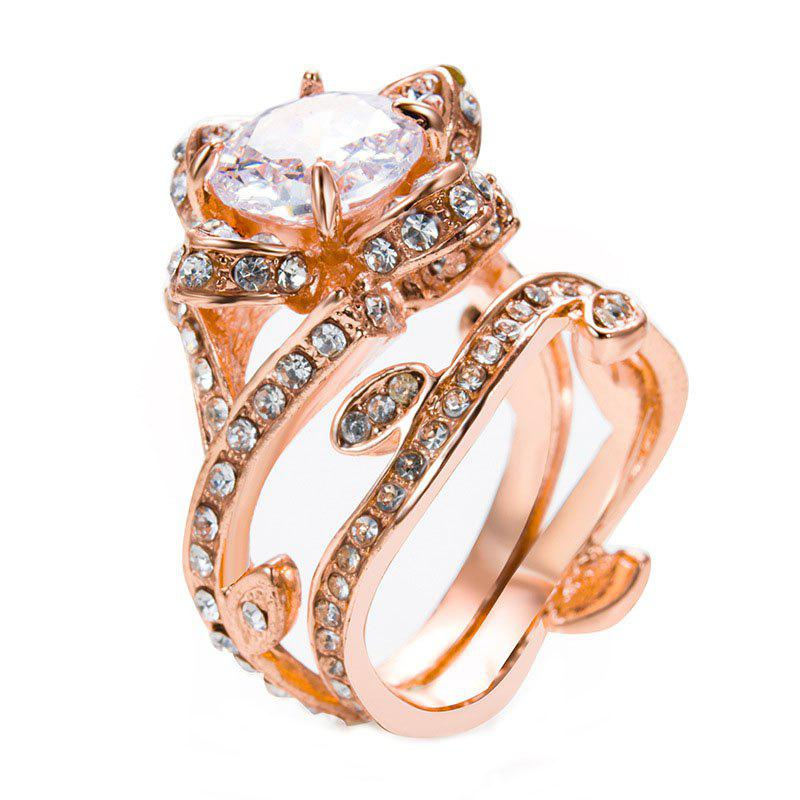 Fancy Creative Rose and Diamond Crystal Engagement Ring