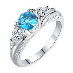 Fashion Creative Sapphire Carved Crystal Engagement Ring -
