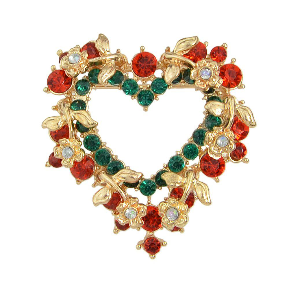 Online Christmas Colorful Rhinestone Heart-shaped Brooch