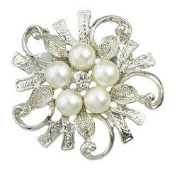 Hollow-out Flower Bead Brooch for Elegant Woman -