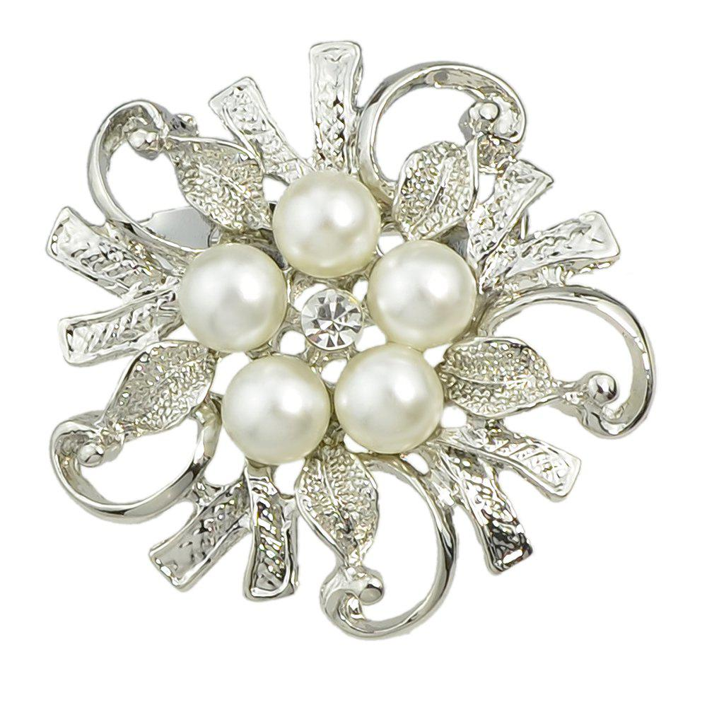 Fancy Hollow-out Flower Bead Brooch for Elegant Woman