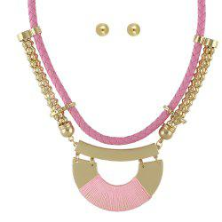 Colorful PU Leather Chain Geometric Big Statement Necklace Earrings -