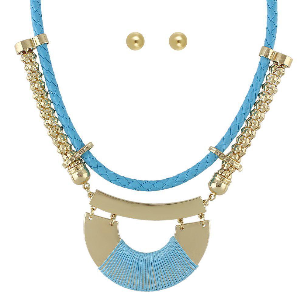New Colorful PU Leather Chain Geometric Big Statement Necklace Earrings