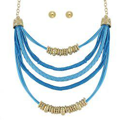 Colorful PU Leather and Braided Rope Multi Layer Chain Necklace Round Earrings -