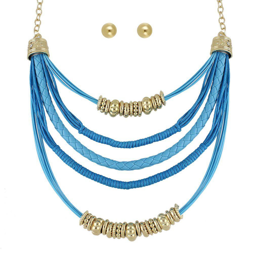 Affordable Colorful PU Leather and Braided Rope Multi Layer Chain Necklace Round Earrings