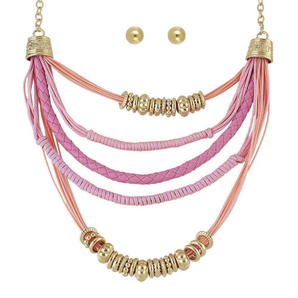 New Colorful PU Leather and Braided Rope Multi Layer Chain Necklace Round Earrings