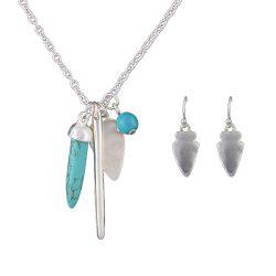 Turquoise Geometric Spike Pendant Necklace and Drop Earrings -