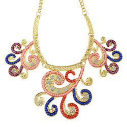 Fashion Colorful Bead Rhinestone Flower Pendant Necklace Earrings -