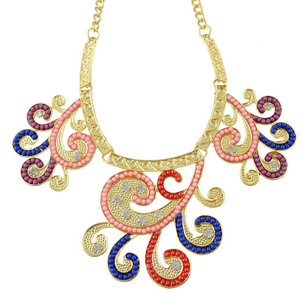 Shop Fashion Colorful Bead Rhinestone Flower Pendant Necklace Earrings