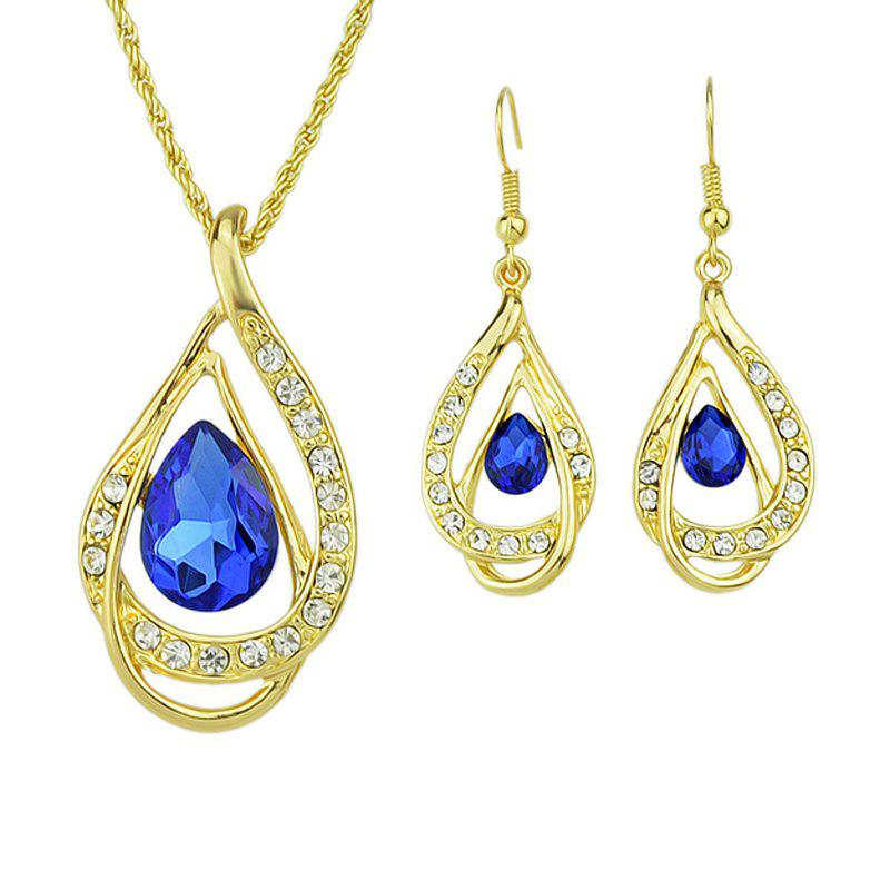Discount Fashion Rhinestone Water Drop Pendant Necklace Earrings