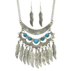 Fashion Turquoise Leaf Tassels Pendant Necklace and Leaf Earrings -