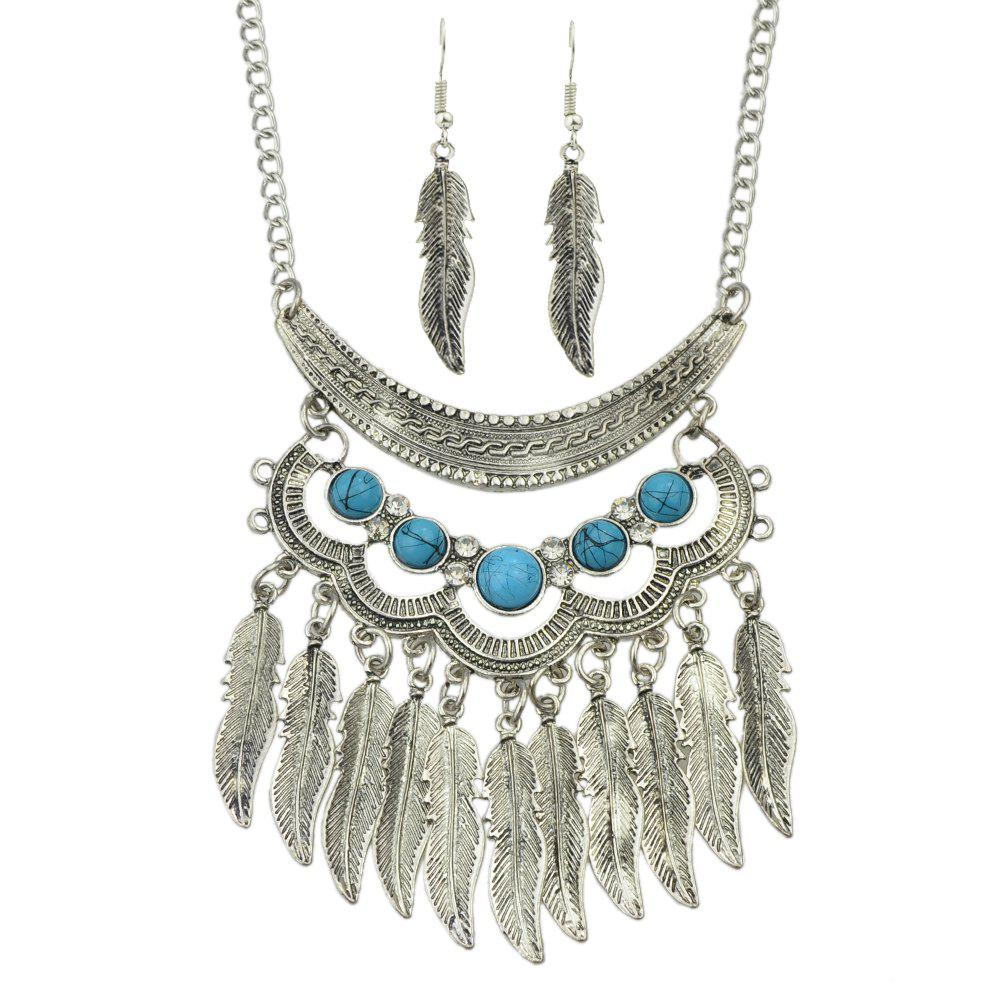 Shops Fashion Turquoise Leaf Tassels Pendant Necklace and Leaf Earrings