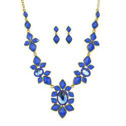 Fashion Colorful Gemstone Flower Necklace Earrings for Women -