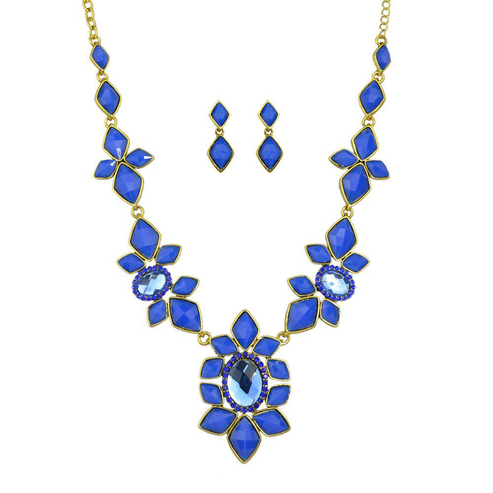 Trendy Fashion Colorful Gemstone Flower Necklace Earrings for Women