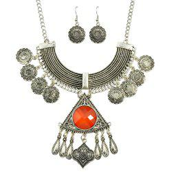 Big Colorful Stone Geometric Pendant Necklace and Drop Earrings -