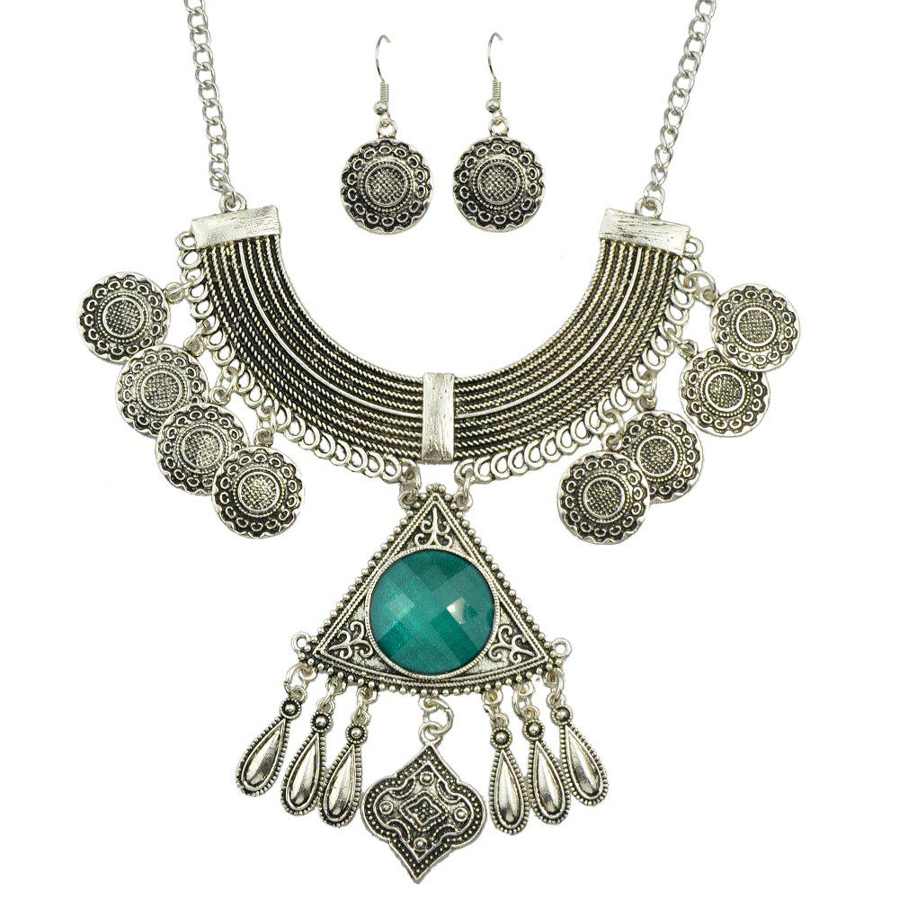 Shops Big Colorful Stone Geometric Pendant Necklace and Drop Earrings
