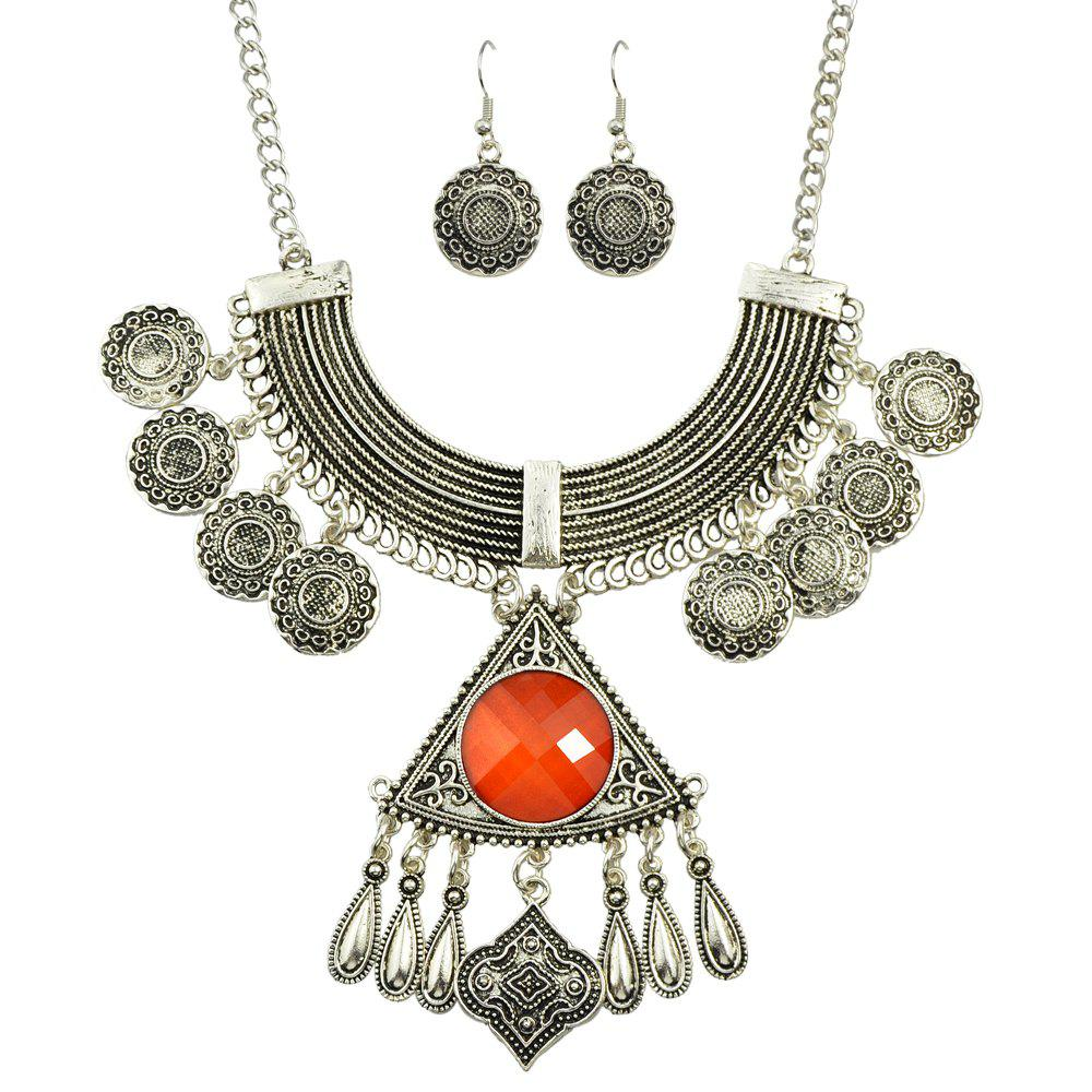 Chic Big Colorful Stone Geometric Pendant Necklace and Drop Earrings