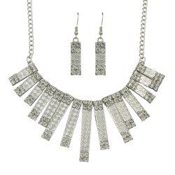 Fashion Rectangular Geometric Rhinestone Pendant Necklace and Drop Earrings -