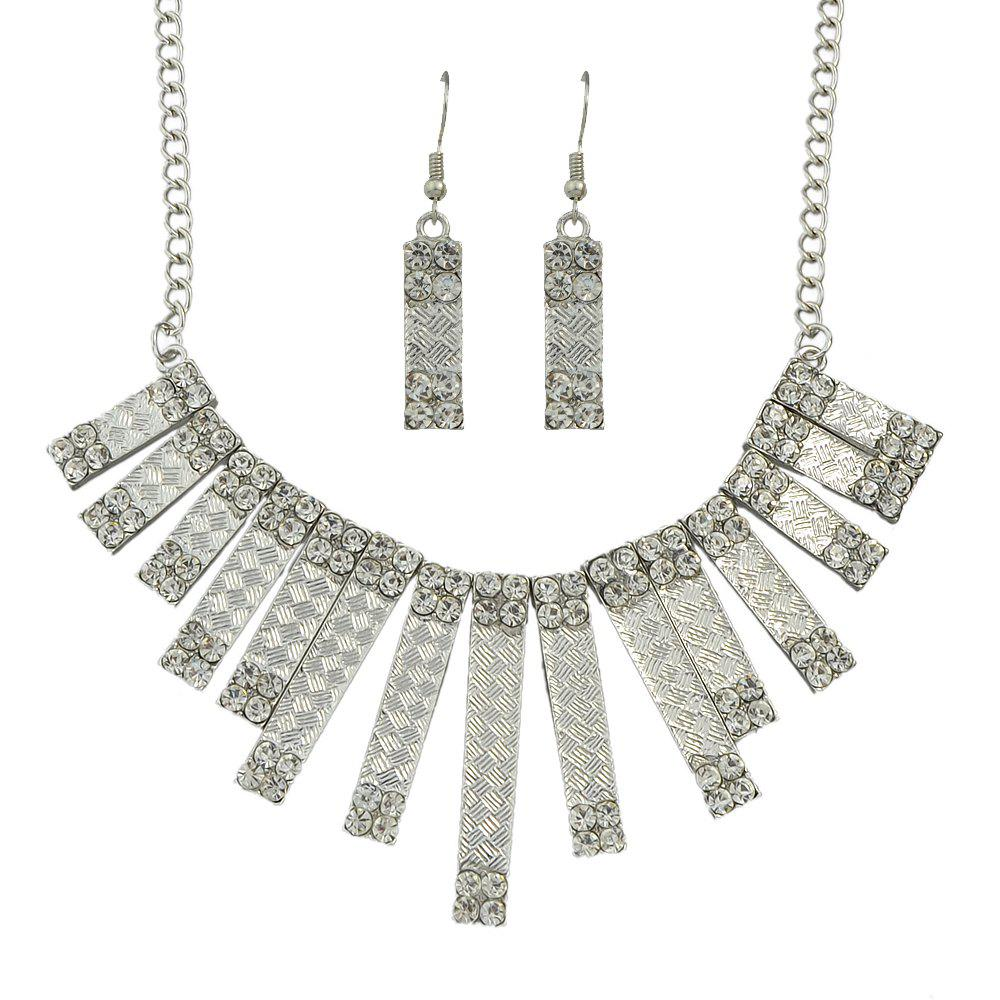Sale Fashion Rectangular Geometric Rhinestone Pendant Necklace and Drop Earrings