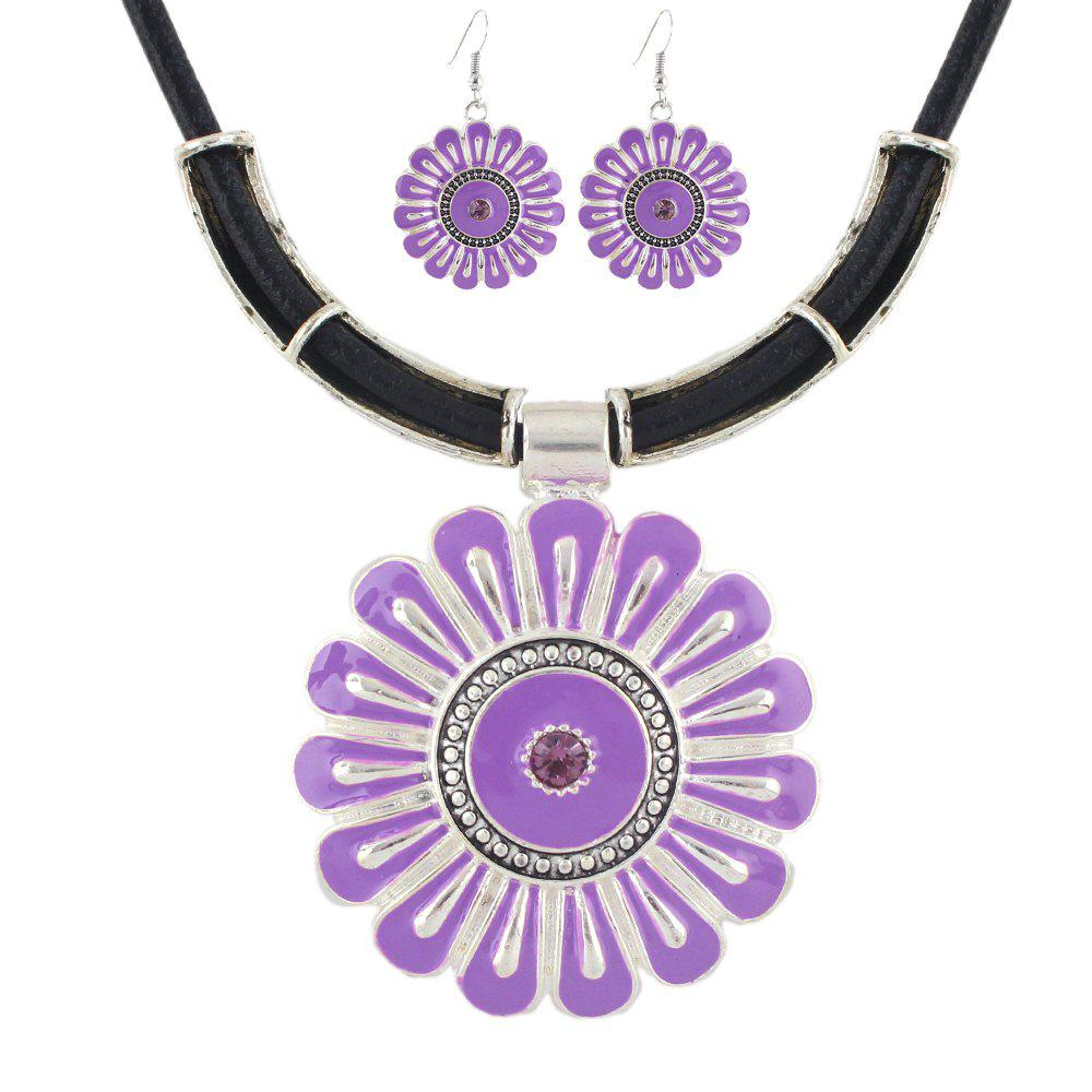 Latest Fashion PU Leather Chain with Enamel Flower Pendant Necklace Earrings