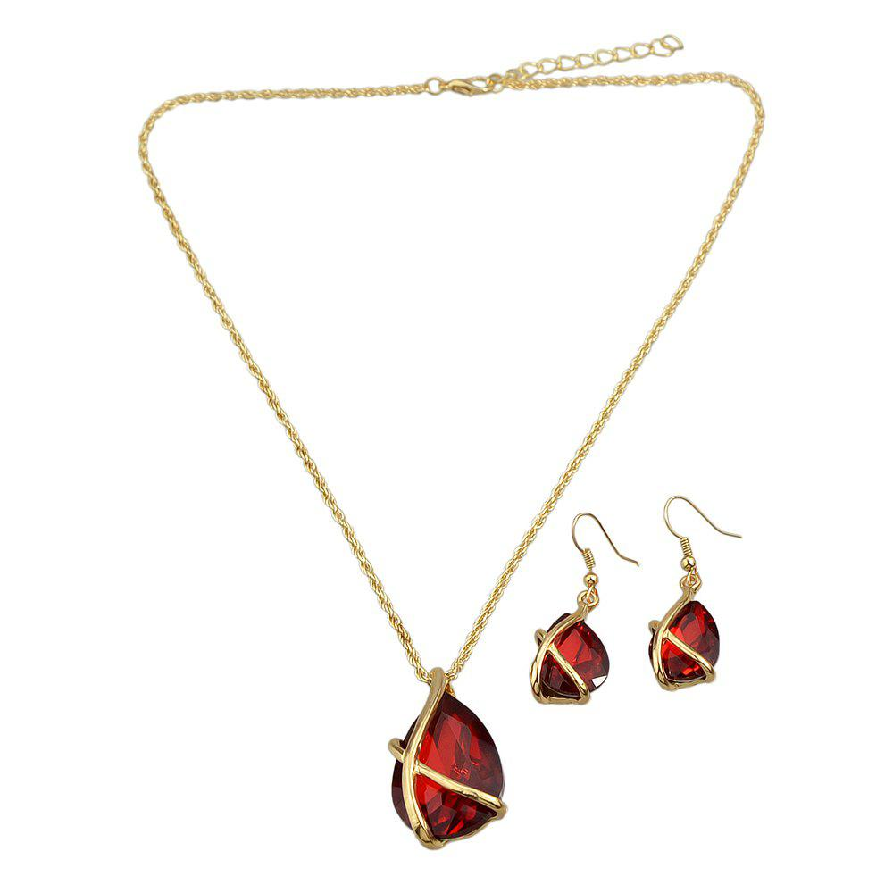 Sale Fashion Colourful Crystal Water Drop Pendant Necklace Earrings