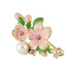 Sweet Colorful Enamel Cherry Blossoms Brooch for Women -