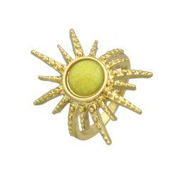 Colorful Stone Sunflower Metal Finger Ring -