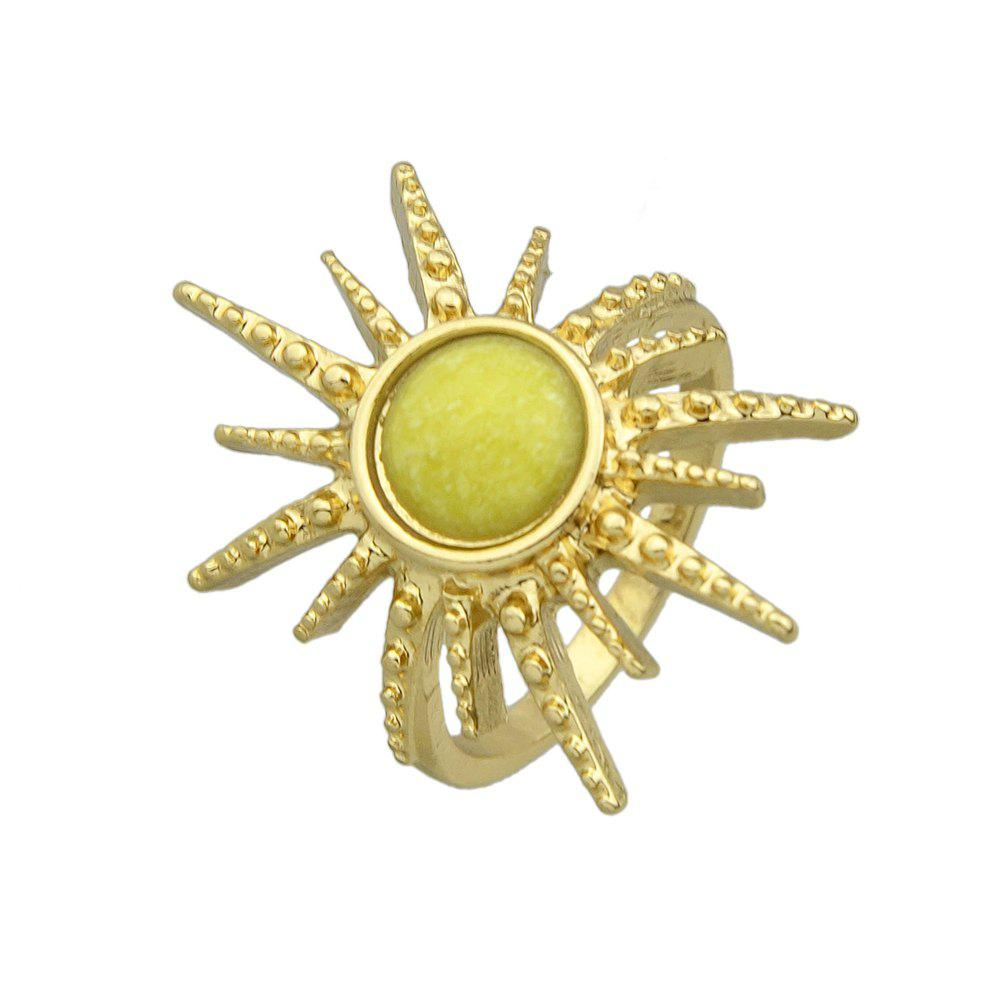 Discount Colorful Stone Sunflower Metal Finger Ring