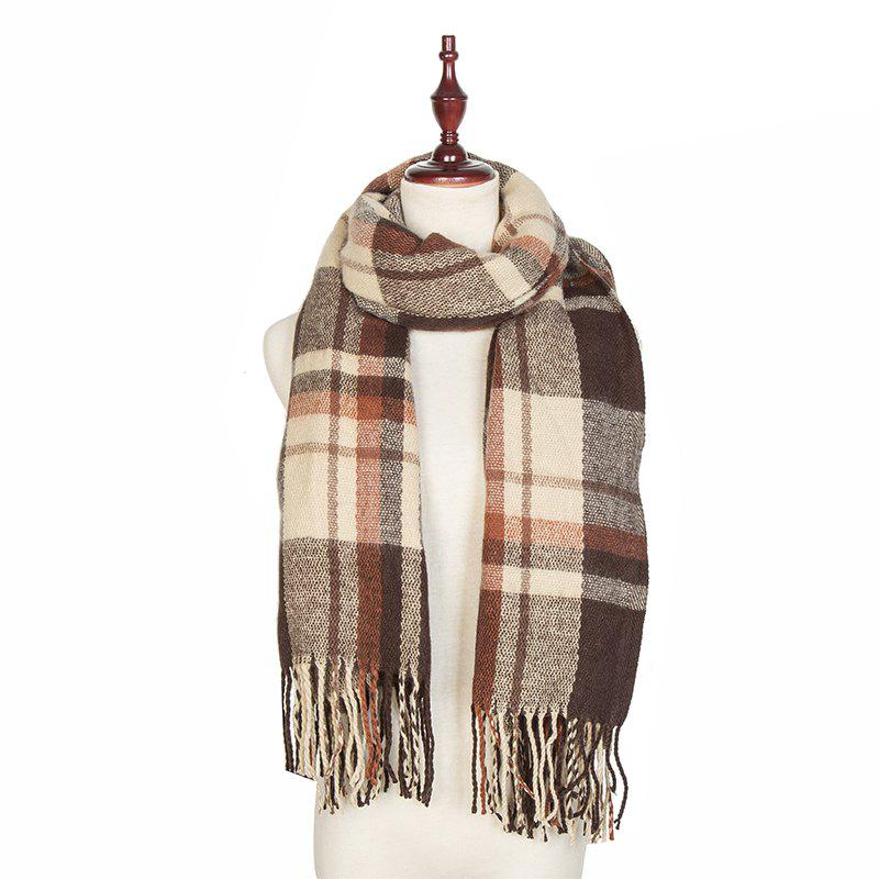 Outfit Autumn and Winter The New Lattice Tassel Imitation of Cashmere Scarf Shawl