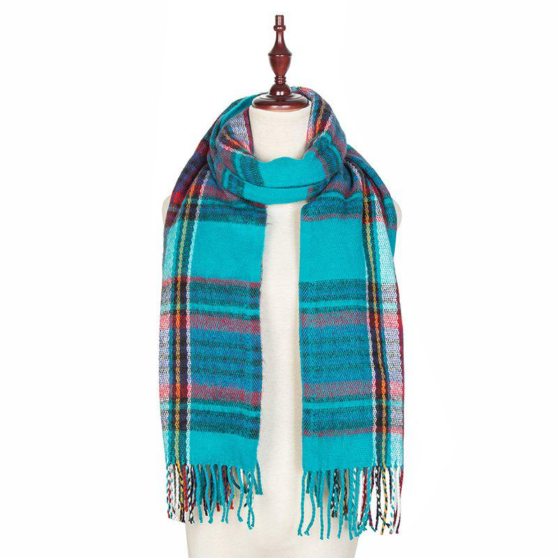 Affordable Autumn and Winter The New Lattice Tassel Imitation of Cashmere Scarf Shawl