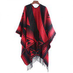Autumn and Winter Fashion Black and Red Triangle Imitation of Cashmere Scarf -