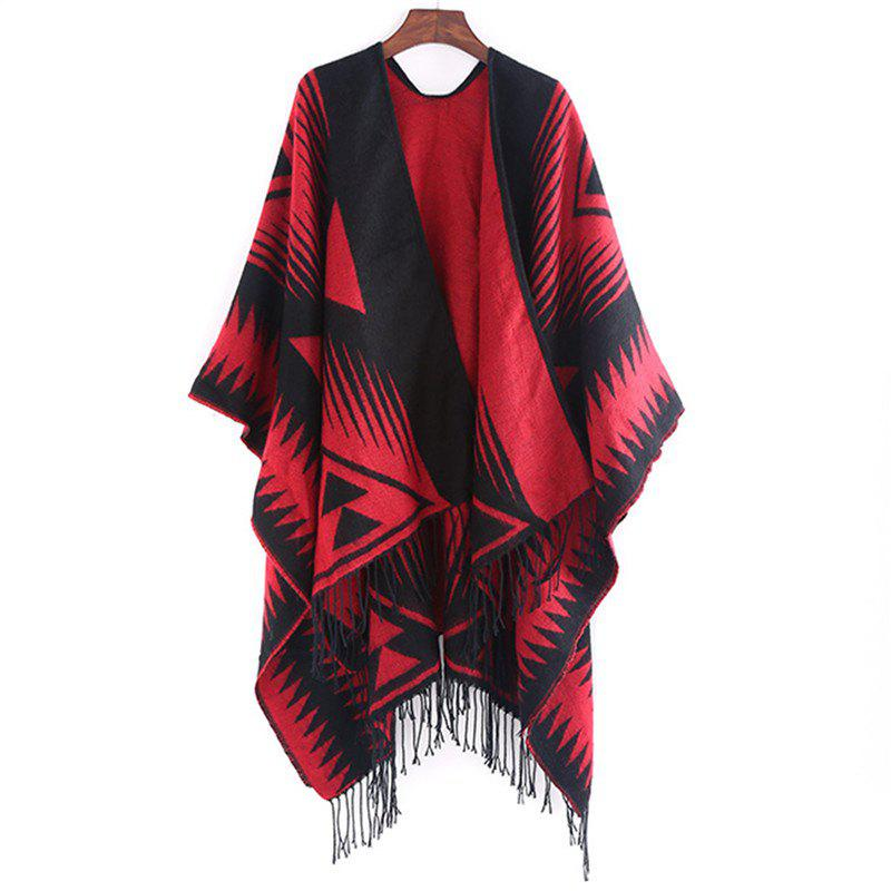 Trendy Autumn and Winter Fashion Black and Red Triangle Imitation of Cashmere Scarf