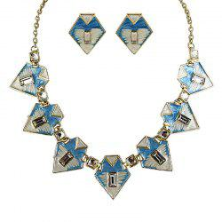 Fashion Geometric Colorful Enamel Necklace and Earrings -