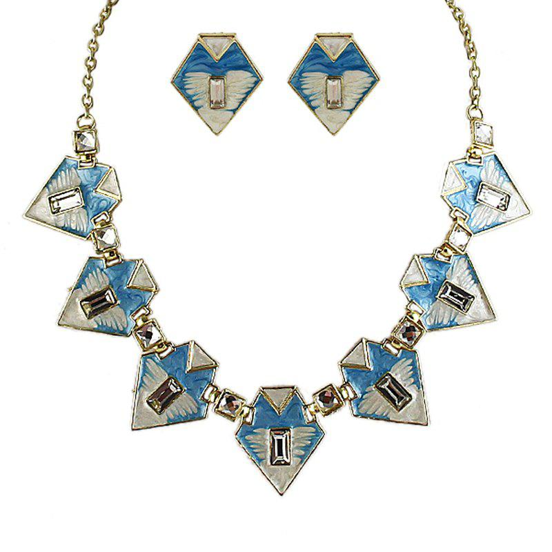 Unique Fashion Geometric Colorful Enamel Necklace and Earrings