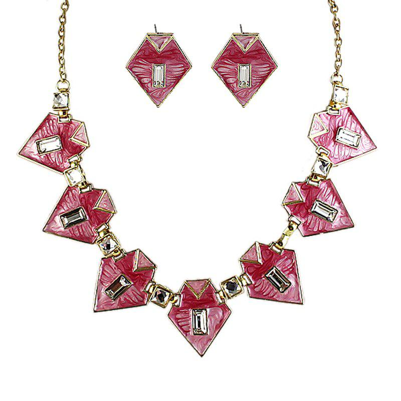Best Fashion Geometric Colorful Enamel Necklace and Earrings