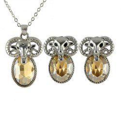 Metal Chain Goat Pendant Necklace and Graceful Earrings -