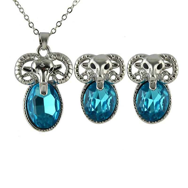 Trendy Metal Chain Goat Pendant Necklace and Graceful Earrings