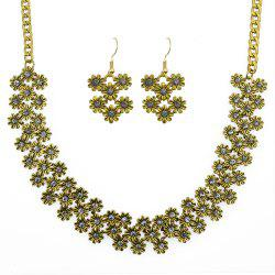 Sweet Colorful Rhinestone Flower Necklace and Drop Earrings -