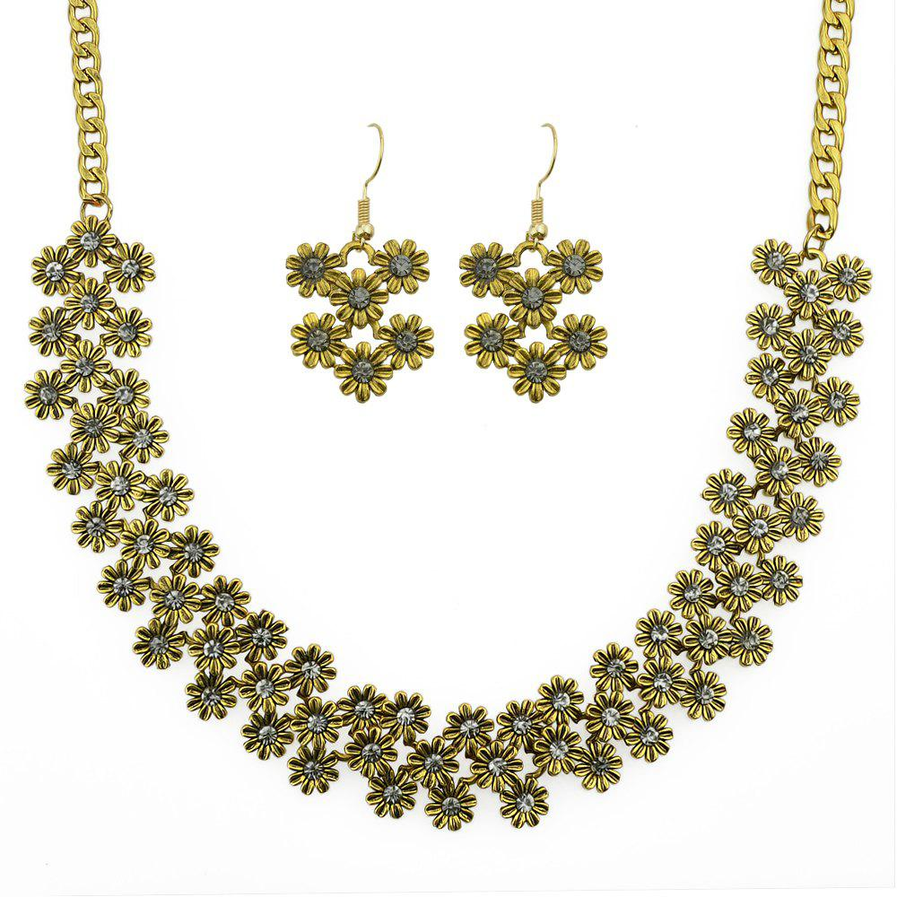 Unique Sweet Colorful Rhinestone Flower Necklace and Drop Earrings