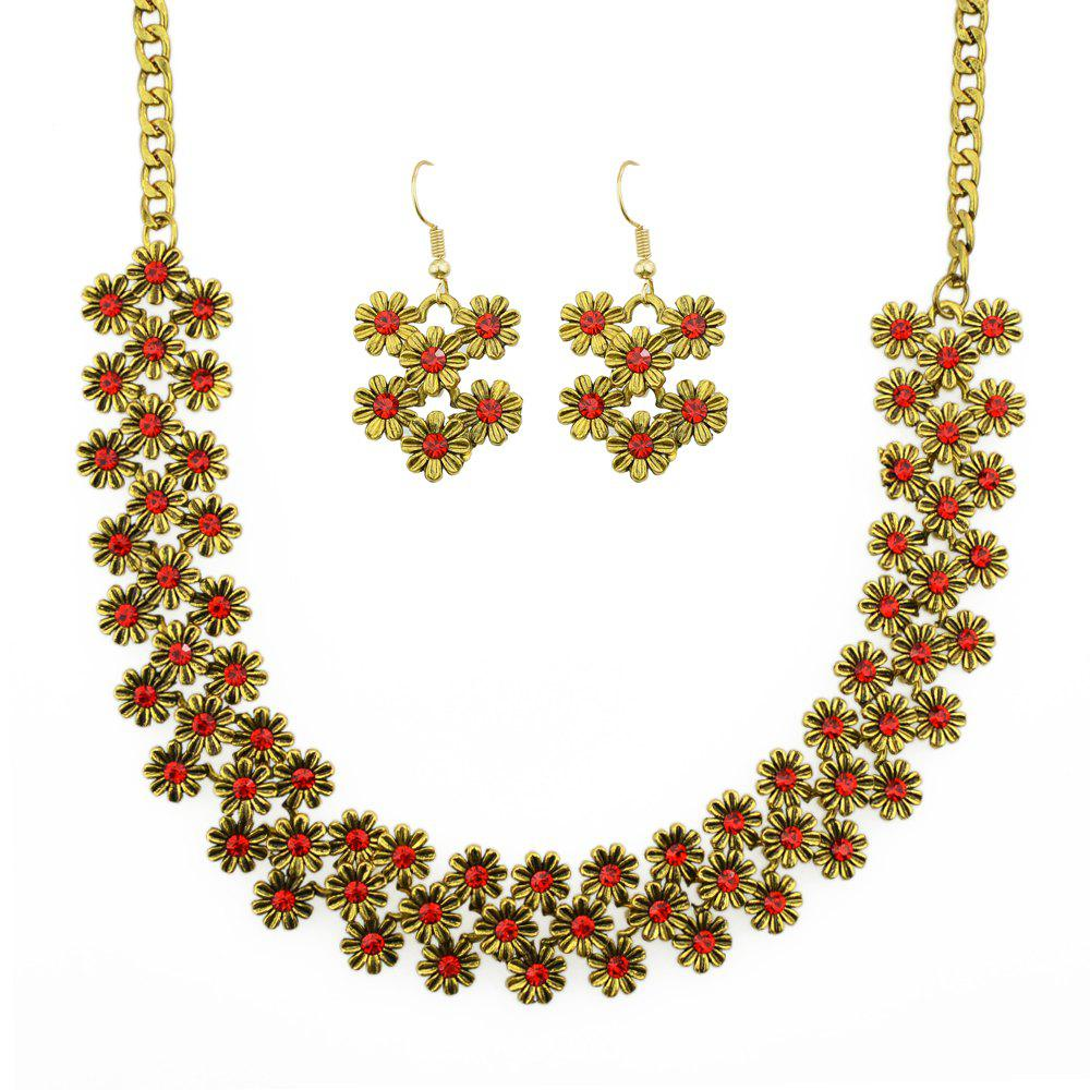 New Sweet Colorful Rhinestone Flower Necklace and Drop Earrings