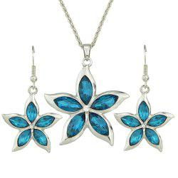 Luxurious Metal Chain with Crystal Flower Pendant Necklace Earrings -