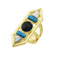 Geometric Turquoise Big Finger Ring for Lady -