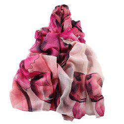 Fashion Colorful Flower Printed Soft Voile Beautiful Scarf -