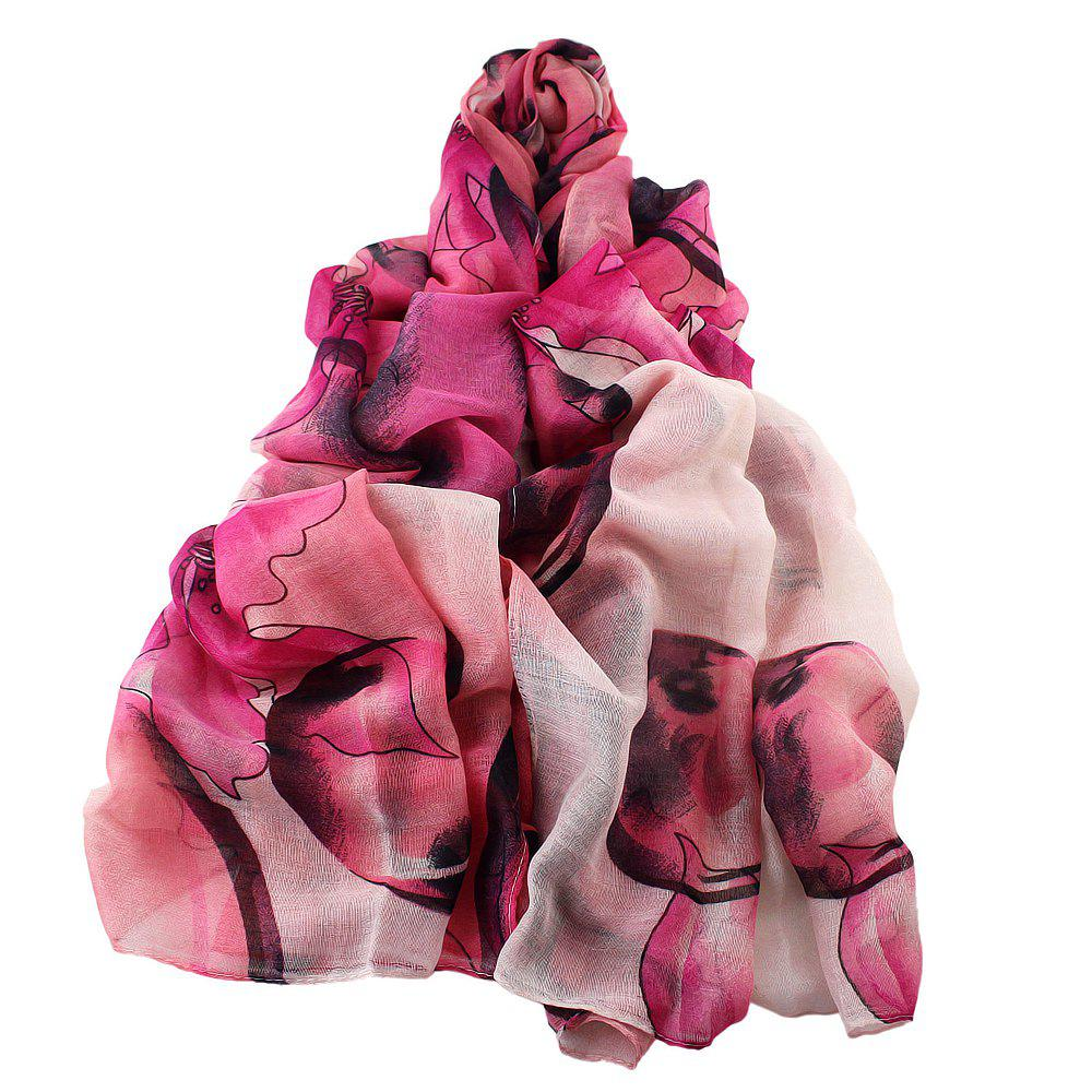Online Fashion Colorful Flower Printed Soft Voile Beautiful Scarf