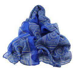 Geometric Printed Voile Wide Scarf for Women -