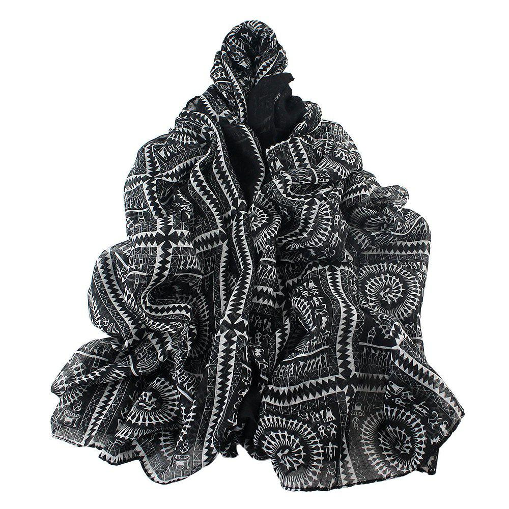 Trendy Geometric Printed Voile Wide Scarf for Women