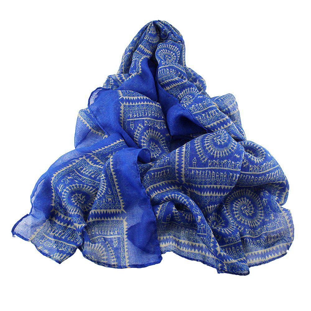 Affordable Geometric Printed Voile Wide Scarf for Women